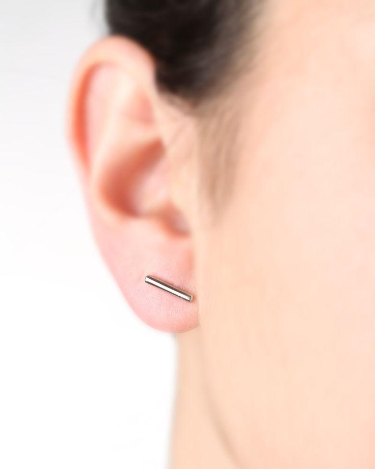 Tiny bar earrings,silver post earrings,bar stud earrings small,simple jewelry,minimalist stud earrings,small bar jewelry,earrings for girls by largentolab on Etsy