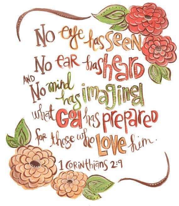 Scripture Wall Art. Bible Verse Art. Christian Art. 1 Corinthians 2:9