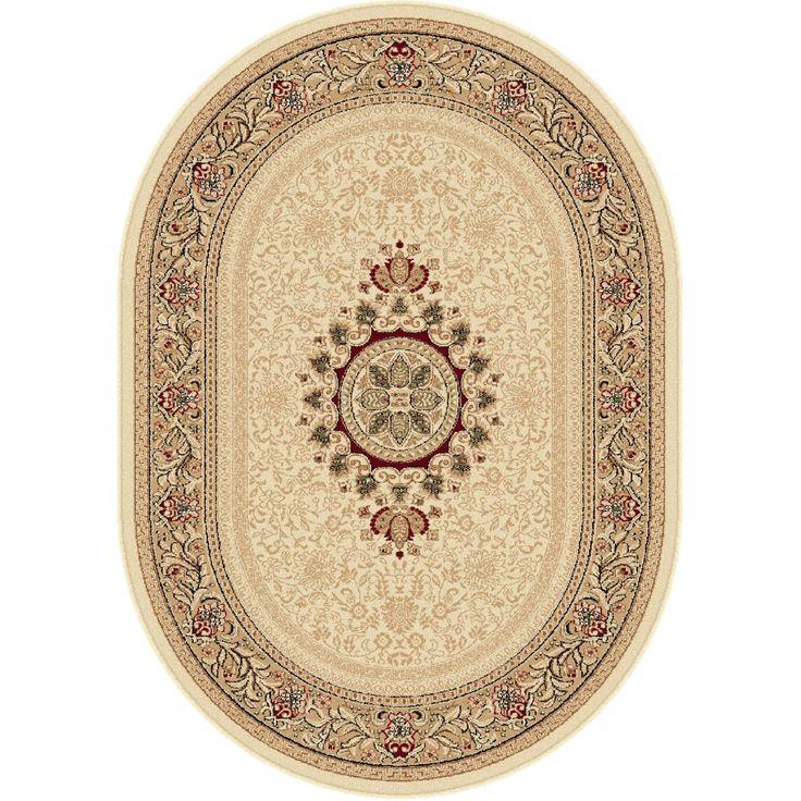 Alise Soho Ivory Oval Traditional Area Rug (6'7 x 9'6 Oval) (Plastic, Oriental)