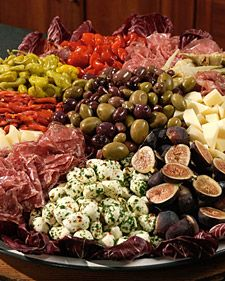 Antipasto Platter - Martha Stewart Roasted red peppers, radicchio di Treviso, separated into leaves, figs, artichoke hearts, mozzarella cheese, Pecorino cheese, provolone cheese, air-dried sopressata, refrigerator-dried sopressata, pepperoncini, mixed olives, peppadew peppers, salami, prosciuttoOlive Oil, Antipasto Recipe, Italian Food, Antipasto Platters, Parties, Antipasta Platter, Martha Stewart, Appetizers, Roasted Red Peppers