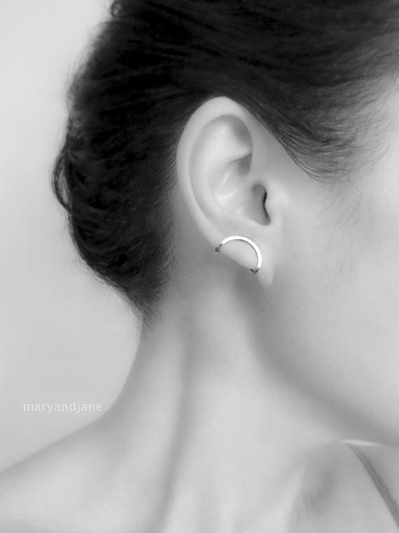 606891345 Statement Jewelry - Folded Ear Pin, Sold Individually, silver ear climber, ear  pin,contemporary earr
