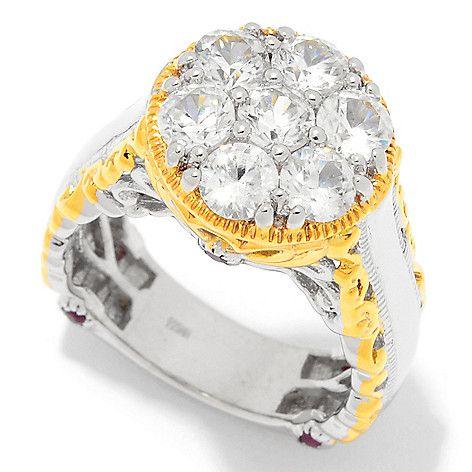 159-130 - Gems en Vogue 2.92ctw White Zircon & Ruby Flower Ring