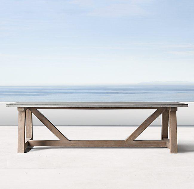 french beam weathered concrete u0026 teak rectangular dining table