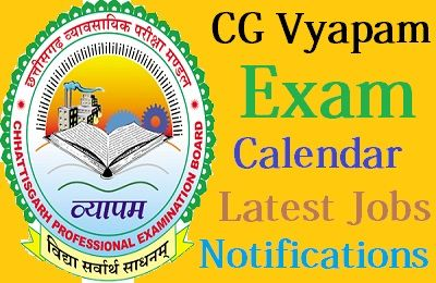 CG Vyapam Exam Calendar 2018-19