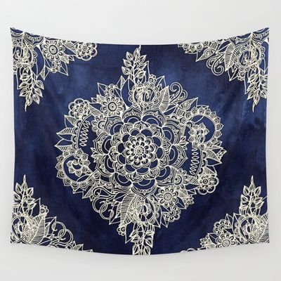 Buy Cream Floral Moroccan Pattern on Deep Indigo Ink by Micklyn as a high quality Wall Tapestry. Worldwide shipping available at Society6.com. Just one of…
