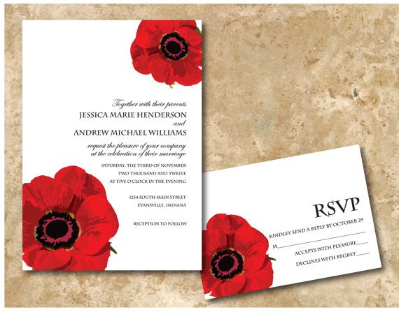 Printable Red Poppy Floral Wedding Invitation by SimpleRSVP, $15.00