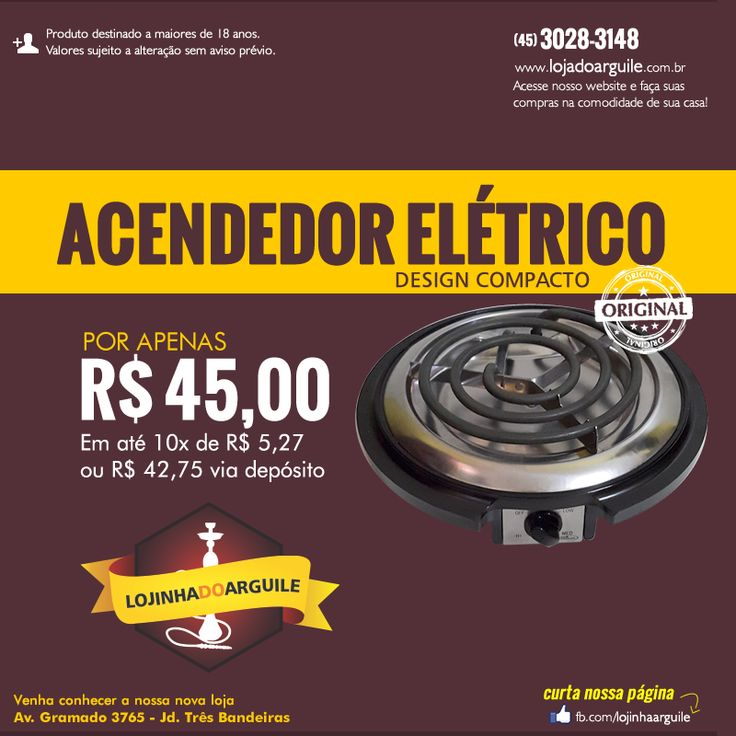 Acendedor Elétrico design compacto POR APENAS R$ 45,00 Em até 10x de R$ 5,27 ou R$ 42,75 via depósito Compre Online: http://www.lojadoarguile.com.br/acendedor-eletrico-design-compacto-