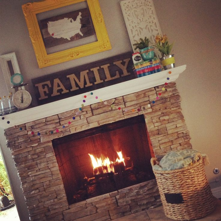 fireplace mantle idea. Love the colors and cozy feel.