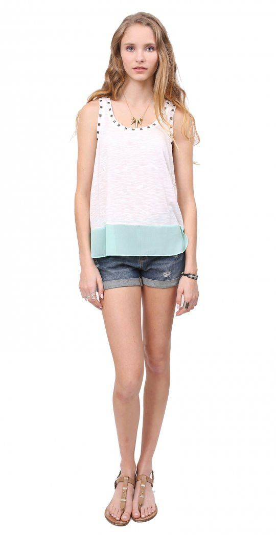 Lacquer tank from Gentle Fawn, studded details around necklace with color blocked mint green hem