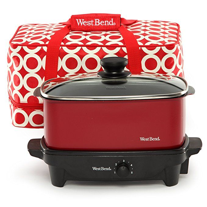 West Bend 84915r Versatility Slow Cooker With Insulated Tote And Transport Lid 5 Quart Red Discontinued By Manuf West Bend Slow Cooker West Bend Slow Cooker