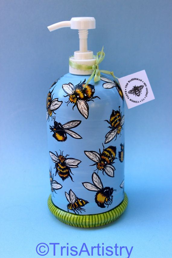 Hand Painted Bumble Bee Pump Flask for Dish Soap or Bubble Bath