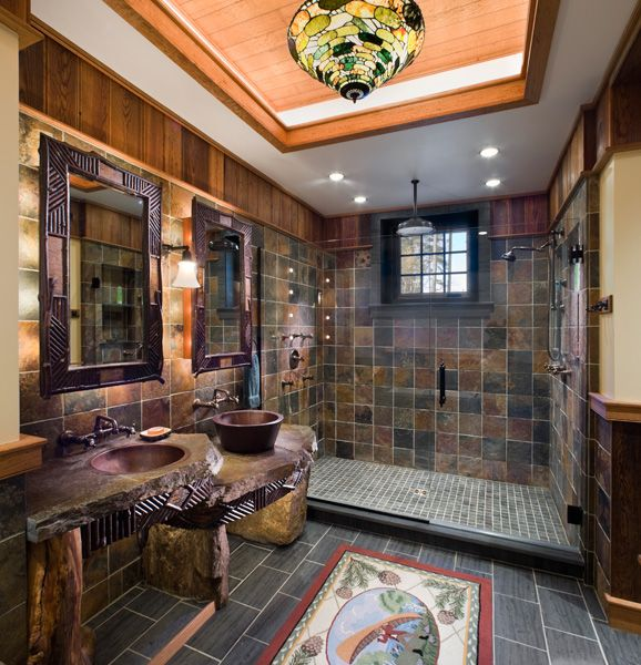 wow! this is such a cool rustic bathroom!