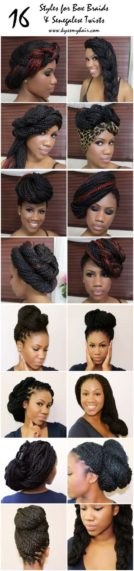 16 Styles for box braids and marley/Senegalese twists. Click the photo! Kyss My Hair on YouTube