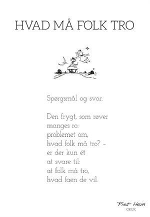 Piet Hein - GRUK - Hvad folk må tro - HØGHSHOPPEN - designmøbler, interieur og accessories.