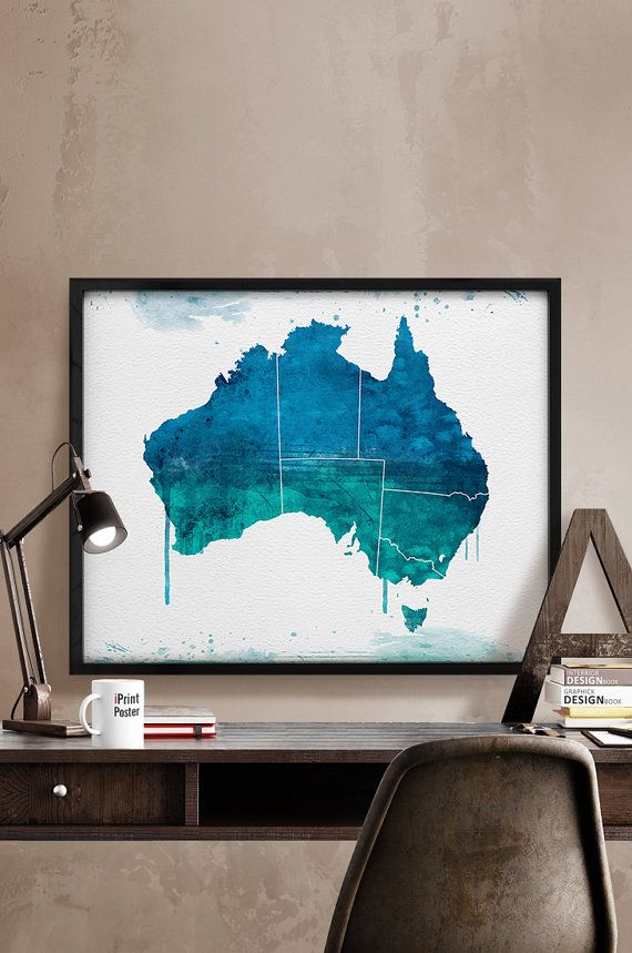 Australia watercolor map, Art, Print, Australia map poster, Poster, Art, Illustration, Artwork, Australia print, Home Decor, iPrintPoster.