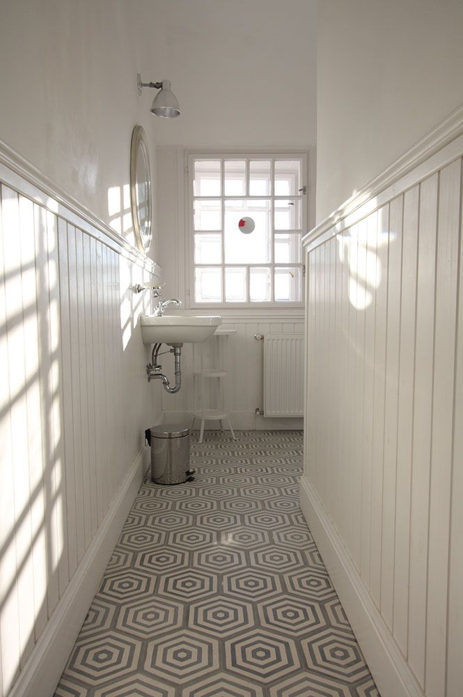hexa rabat cement tiles combined with wooden wallpanels