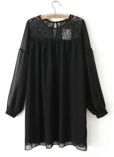 Robe lâche contrastée en dentelle -Noir pictures