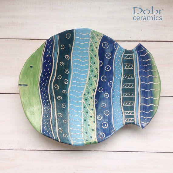 Ceramic plate, Decorative plate, Fish, wall decor, Blue, Green, Ready to ship