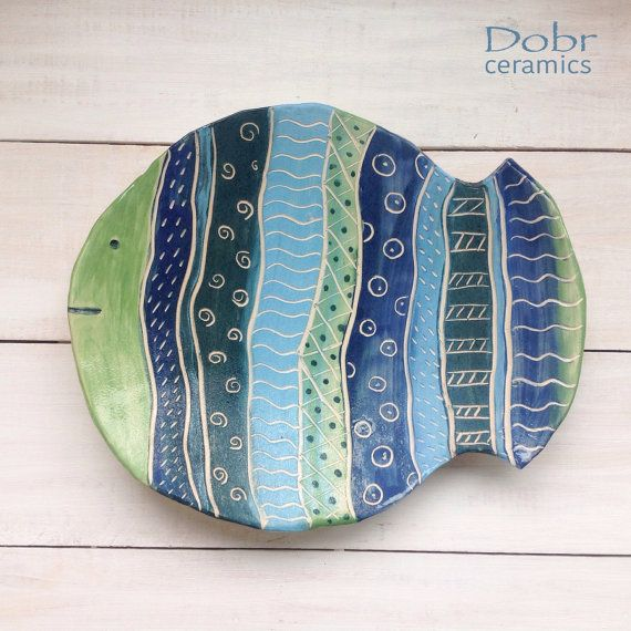 Ceramic plate, Decorative plate, Fish, wall decor, Blue, Green, Ready to ship