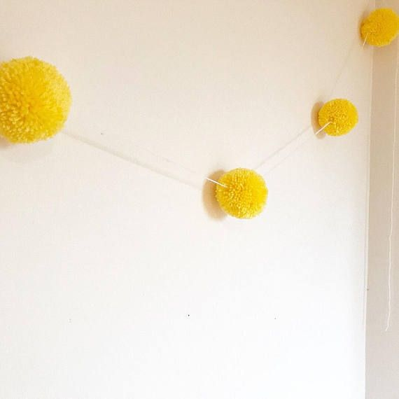 Yellow pompom garland party Easter nursery Spring