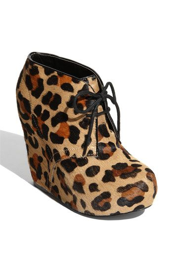 Adore!!  How dang cute are these?  I would live to rock these everywhere.  Take note, world!  Put me down for Steve Madden's 'Annie-L' Wedge Bootie in size 10. #animalprint #leopard #wedges #highheels #sexy #flirty #shoes