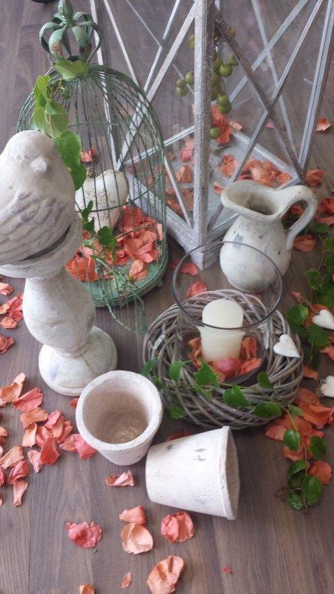 Impression Gartenzauber Schatzkiste Vogel Glas Windlicht Krug - rose aus stein deko