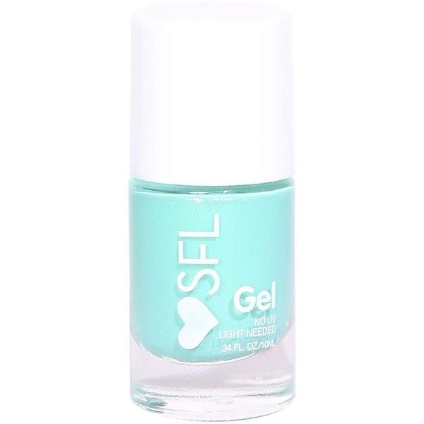 Sfl Mermaid Fin Gel Nail Polish (38 MXN) ❤ liked on Polyvore featuring beauty products, nail care, nail polish, beauty, filler, mint, gel nail color, gel nail care and gel nail polish