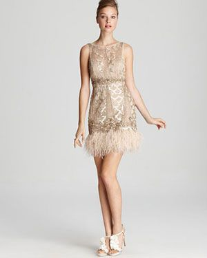 1920s bridesmaids' attire inspiration in gold and cream
