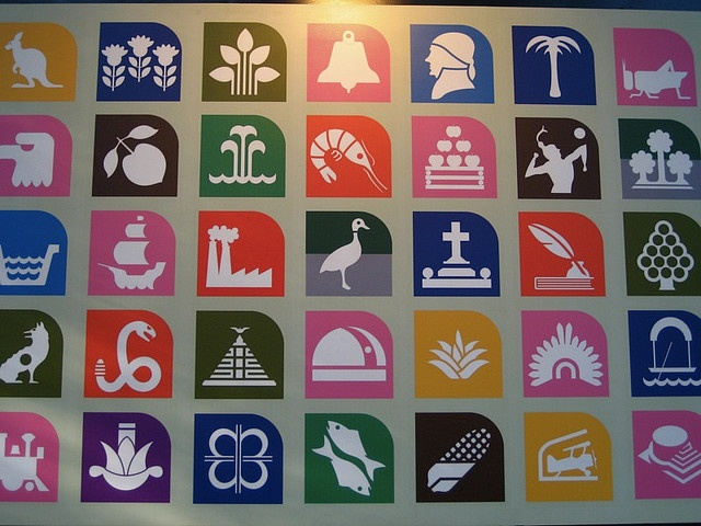 Metro station symbols. The best graphic design of any subway system in the world. Every stop has a cultural and/or historical reason for its symbol and also works for a population where not every person is literate.