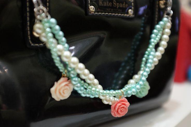 Pastel rose bag charm