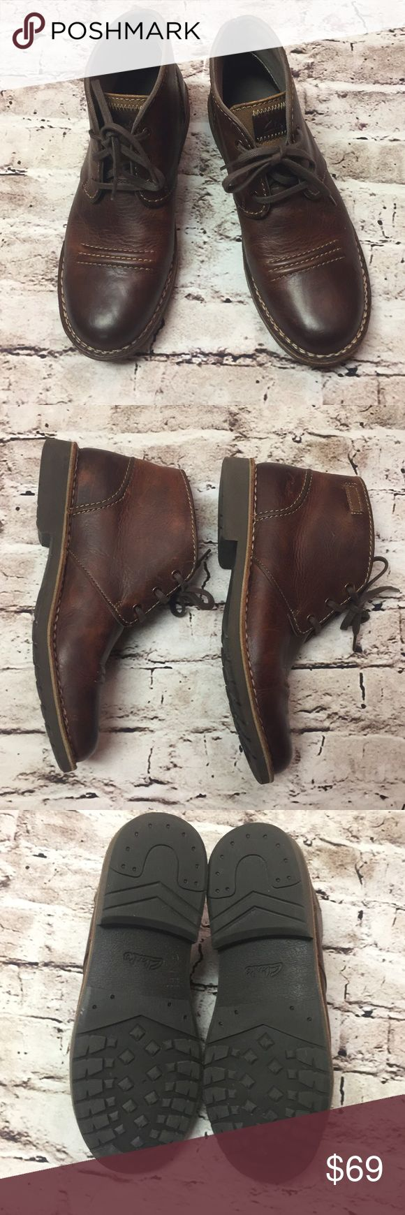 SZ 11.5 MEN'S CLARKS BOOTS These are a Brand new pair of tie boots by CLARKS. They have a leather upper and a sturdy canvas tongue. Rugged sole and a slightly distressed look to the leather. Clarks Shoes Chukka Boots