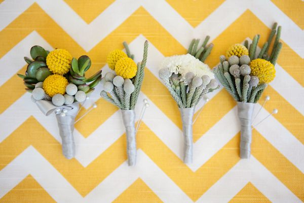 Modern yellow and gray boutonnieres for sunny summer wedding - Photo by April Smith & Co.