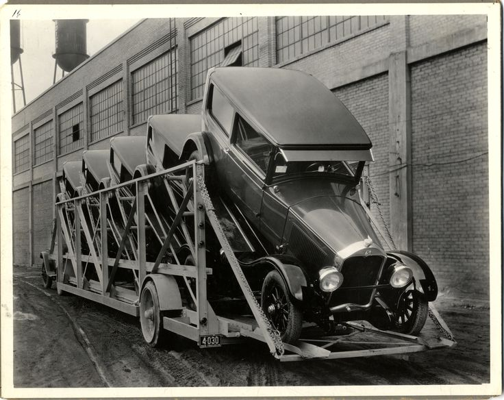 Buick automobiles loaded on a car hauler at Buick Motor