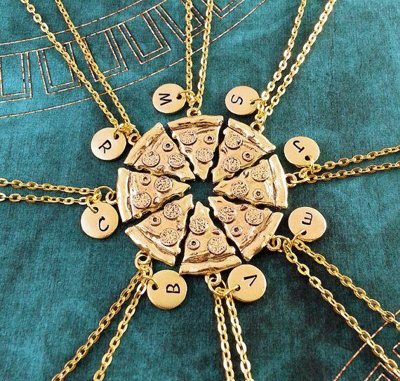 Pizza Freundschaft Halsketten Set 8 Pepperoni Pizza von MetalSpeak