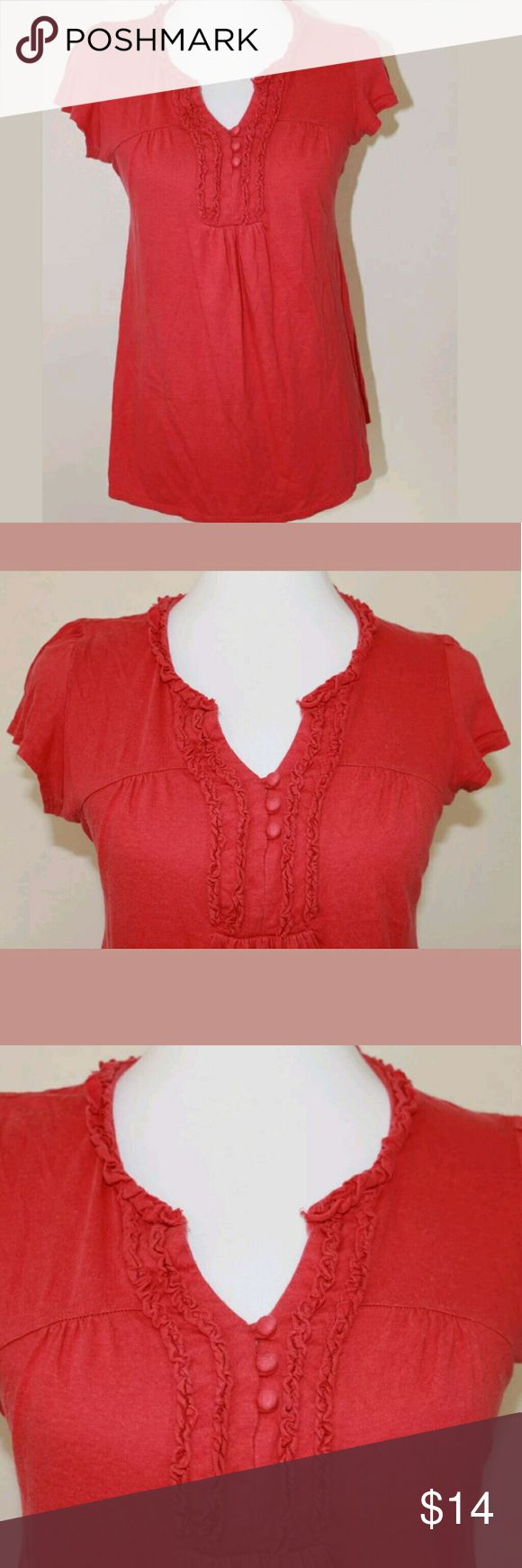 Oh Baby by Motherhood Small Red Maternity SS Top Oh Baby by Motherhood Red Maternity Short Sleeve Top  Ruffles & buttons across the chest. Waist tie for a fitted look.   Size: Small   Fabric: 54% cotton, 46% modal  Care: Machine wash cold with like colors. Tumble dry low.   Smoke free home. Oh Baby by Motherhood Tops Blouses