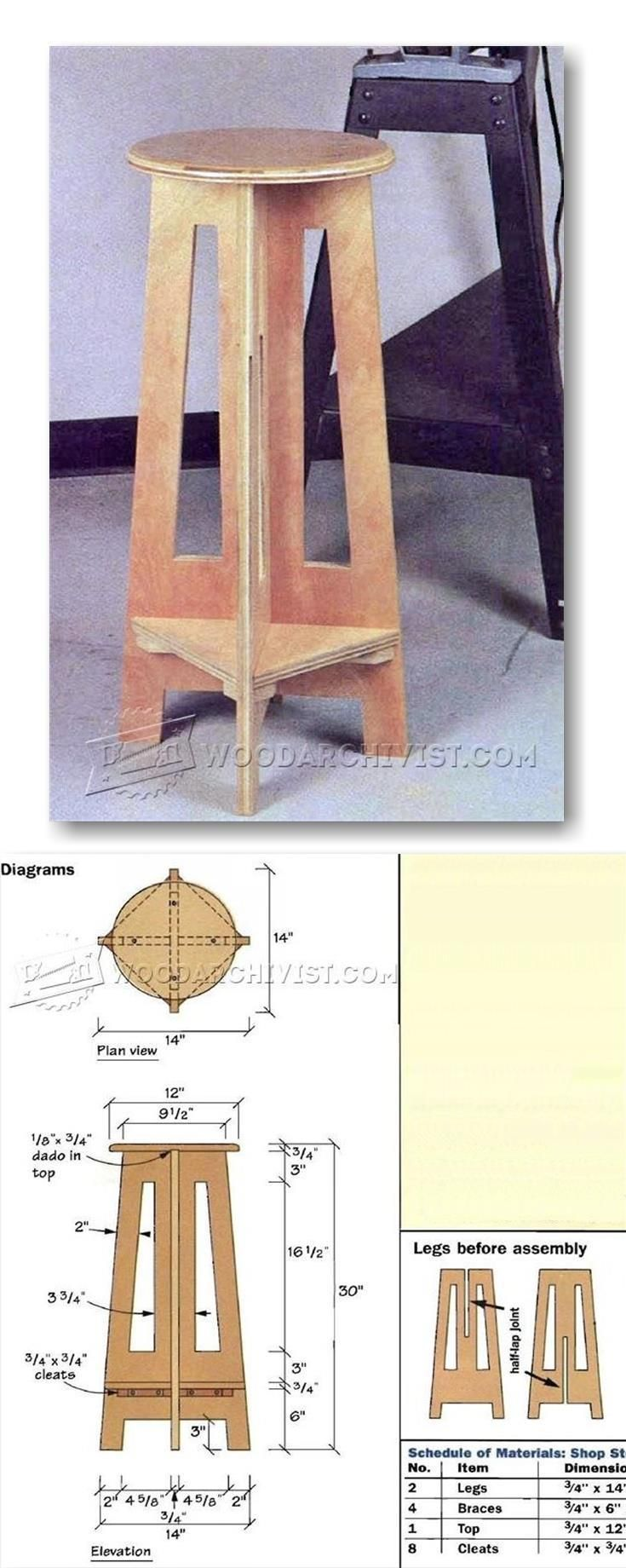 Simple Shop Stool Plans - Workshop Solutions Plans, Tips and Tricks | WoodArchivist.com