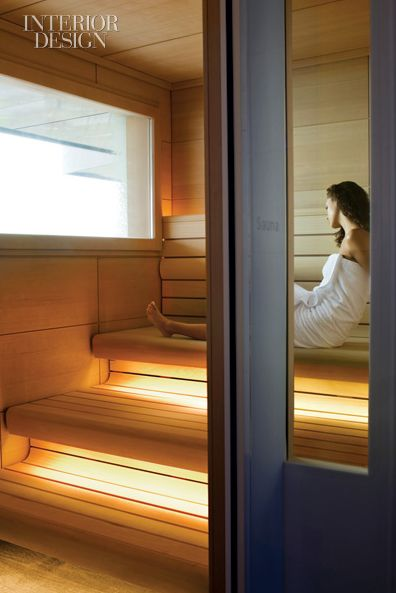 Sauna in the Interior Design magazine(?). Unknown builder, designer, and photographer