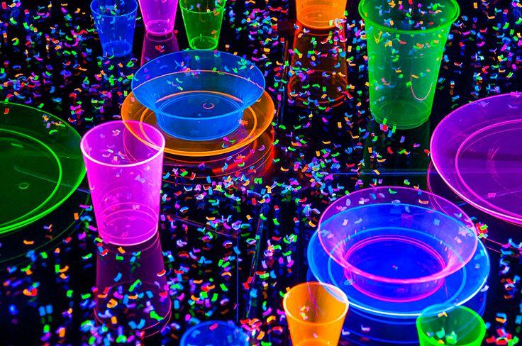Blacklight party confetti table setting!