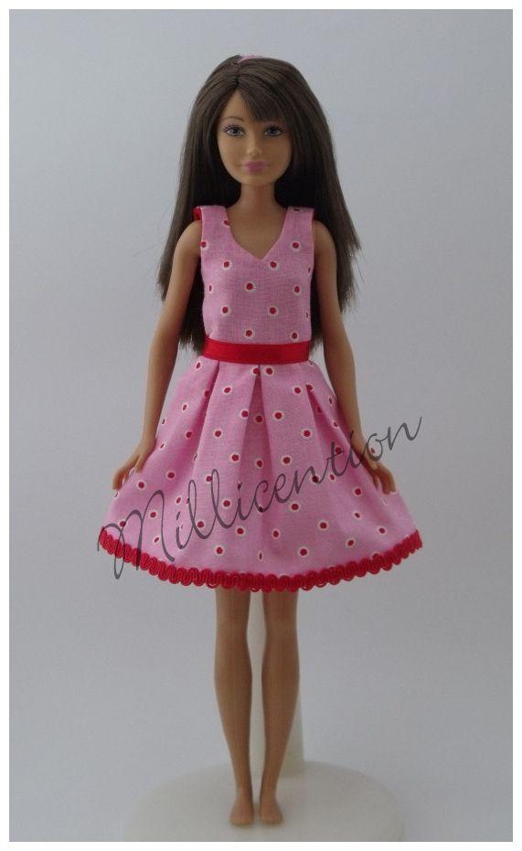 Pink-red polka dot Skipper doll dress