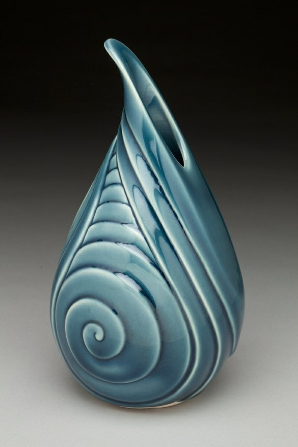Lynne Meade Bud Vase Curl Carved Pottery Ceramics Clay