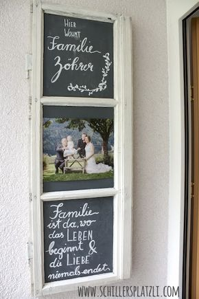 Türschild, upcycling, DIY, altes Holzfenster, Fam…