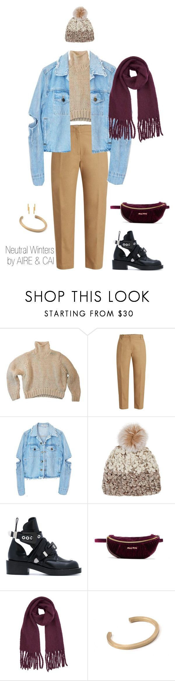 """""""Neutral Winters"""" by aireandcaimail on Polyvore featuring Jil Sander, Mischa Lampert, Balenciaga, Miu Miu, Warehouse and Carousel Jewels"""