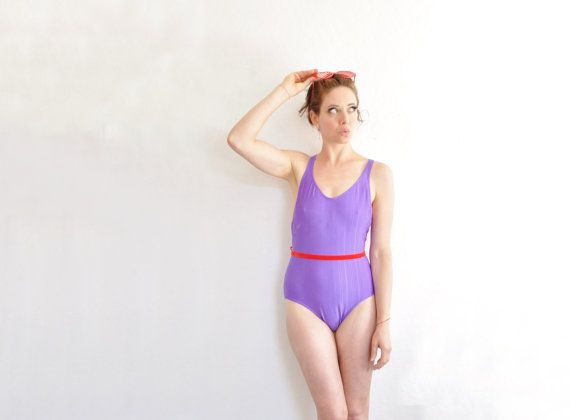 royal purple one piece swimsuit . classic solid 1 pc by DOTTO