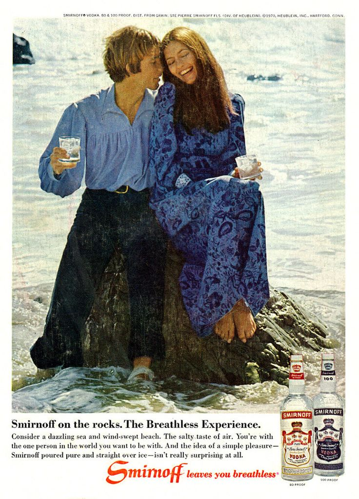 "https://flic.kr/p/rmYWfb | 1971 Liquor Ad, Smirnoff Vodka, Girl & Guy Sitting on Rock at the Beach | Tagline: ""Smirnoff on the rocks. The Breathless Experience.""  Published in Cosmopolitan, May 1971, Vol. 170, No. 5  Fair use/no known copyright. If you use this photo, please provide attribution credit; not for commercial use (see Creative Commons license)."