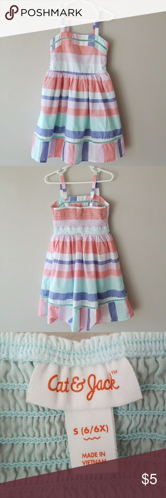 💥Kids💥Multi stripe sun dress GUC small mark on front, see pics 4 and 5. Mint, blue, coral, light pink and white.  Mint lining. 100% cotton. Size 6/6x Cat & Jack Dresses Casual