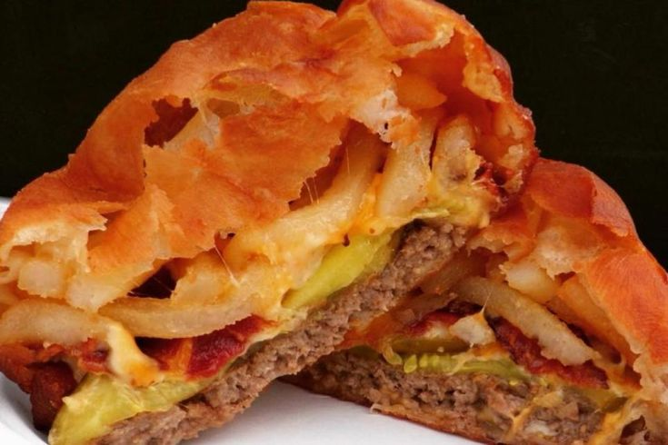 Frenchfry stuffed burger offered at the utah state fair