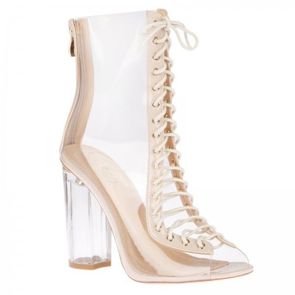 Desiree lace up ankle boots in NUDE Perspex ($58) ❤ liked on Polyvore featuring shoes, boots, ankle booties, short boots, lace up ankle boots, bootie boots, laced up booties and lace-up ankle booties