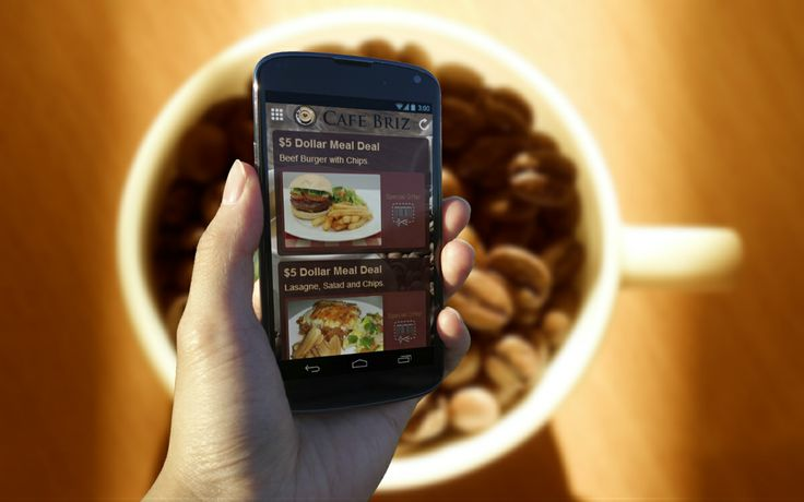 Cafe Briz Mobile App - Coupon Special Offer Page.  Wouldn't it be nice to create your own special offers and send a push notification to all your customers!