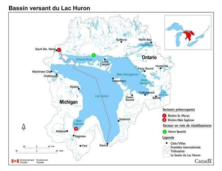 Carte du bassin versant du lac Huron  /  Le lac Huron compte plus de 30 000 îles et possède ainsi le plus long littoral de tous les lacs du monde. Le lac Huron abrite l'île Manitoulin, la plus grande île au monde dans un lac d'eau douce.