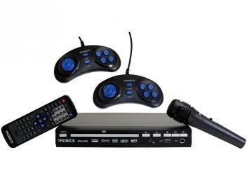 DVD Player TRC DVD 250 com Karaokê Conexão USB - Microfone Função Ripping 2 Games Pad + CD c/ Jogos